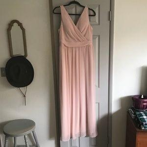 Adrianna Papell bridesmaid blush dress.